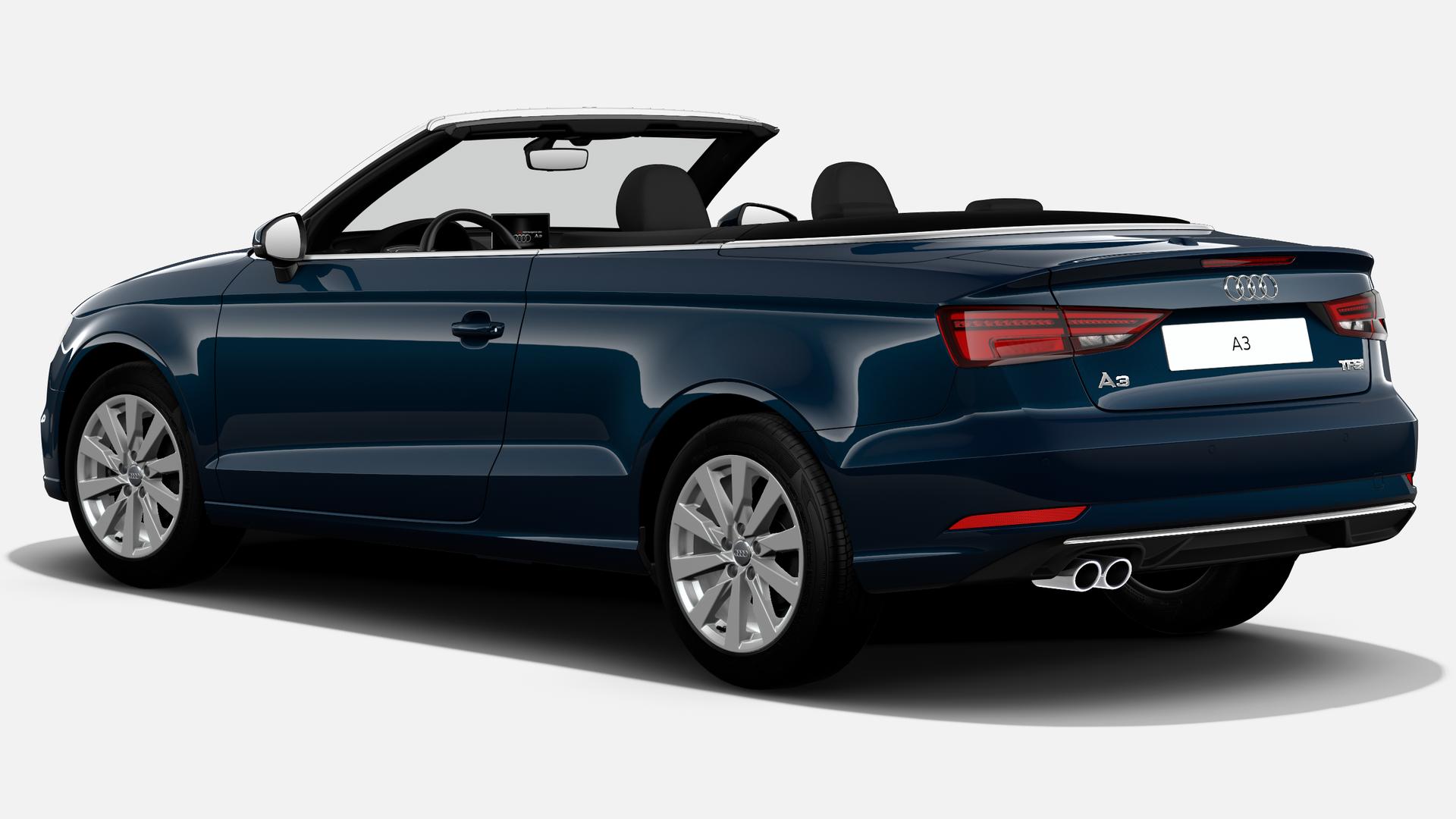 Vista Tres cuartos trasera izquierda de Audi A3 Cabrio 1.5 TFSI Design Edition CoD EVO 110 kW (150 CV)
