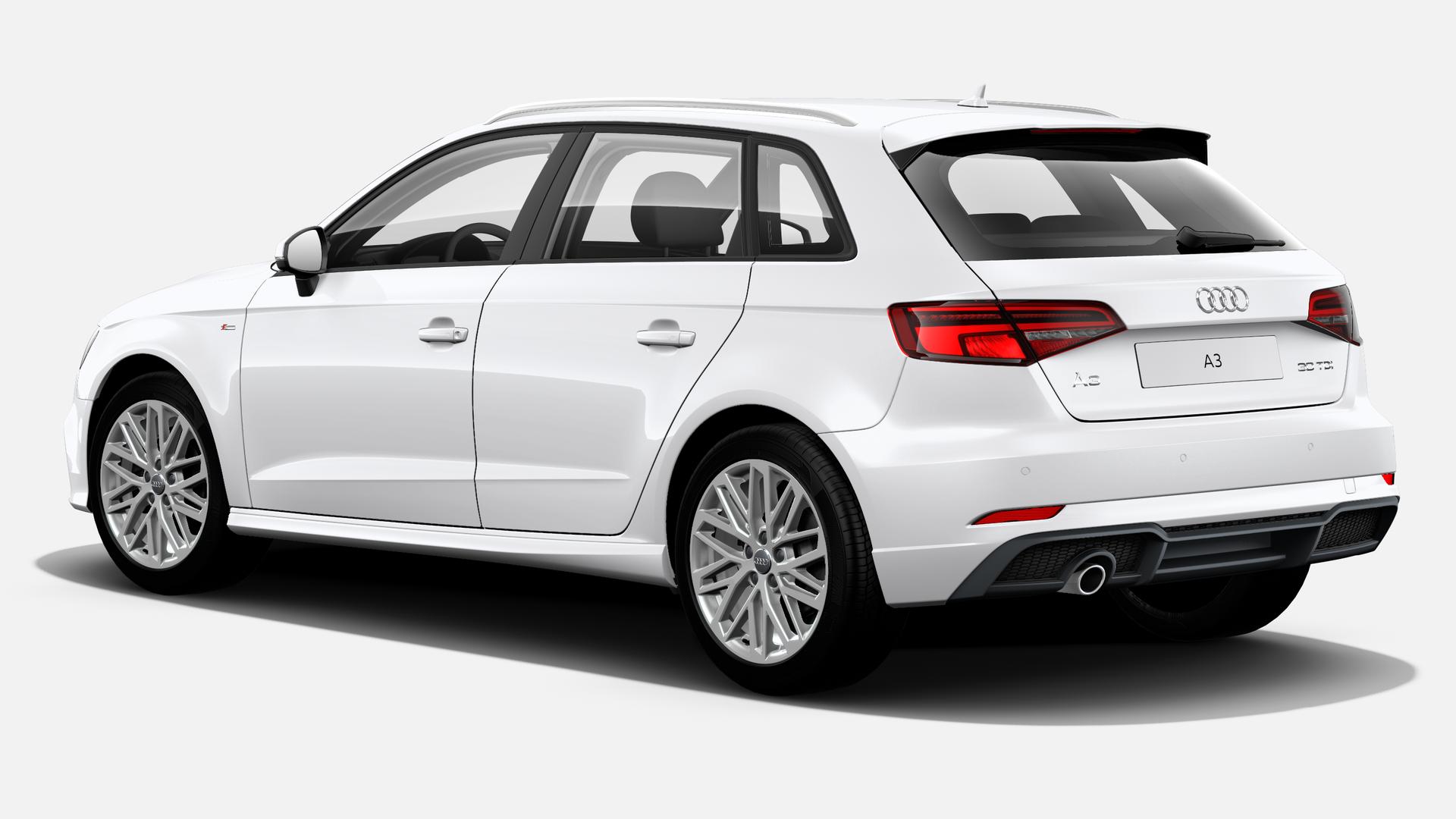 Vista Tres cuartos trasera izquierda de Audi A3 Sportback 30 TDI S line 85 kW (116 CV)