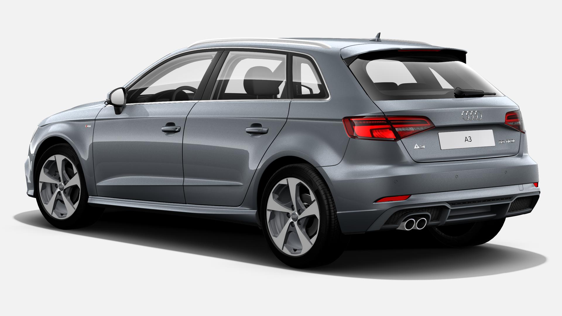 Vista Tres cuartos trasera izquierda de Audi A3 Sportback 35 TFSI CoD S line 110 kW (150 CV)