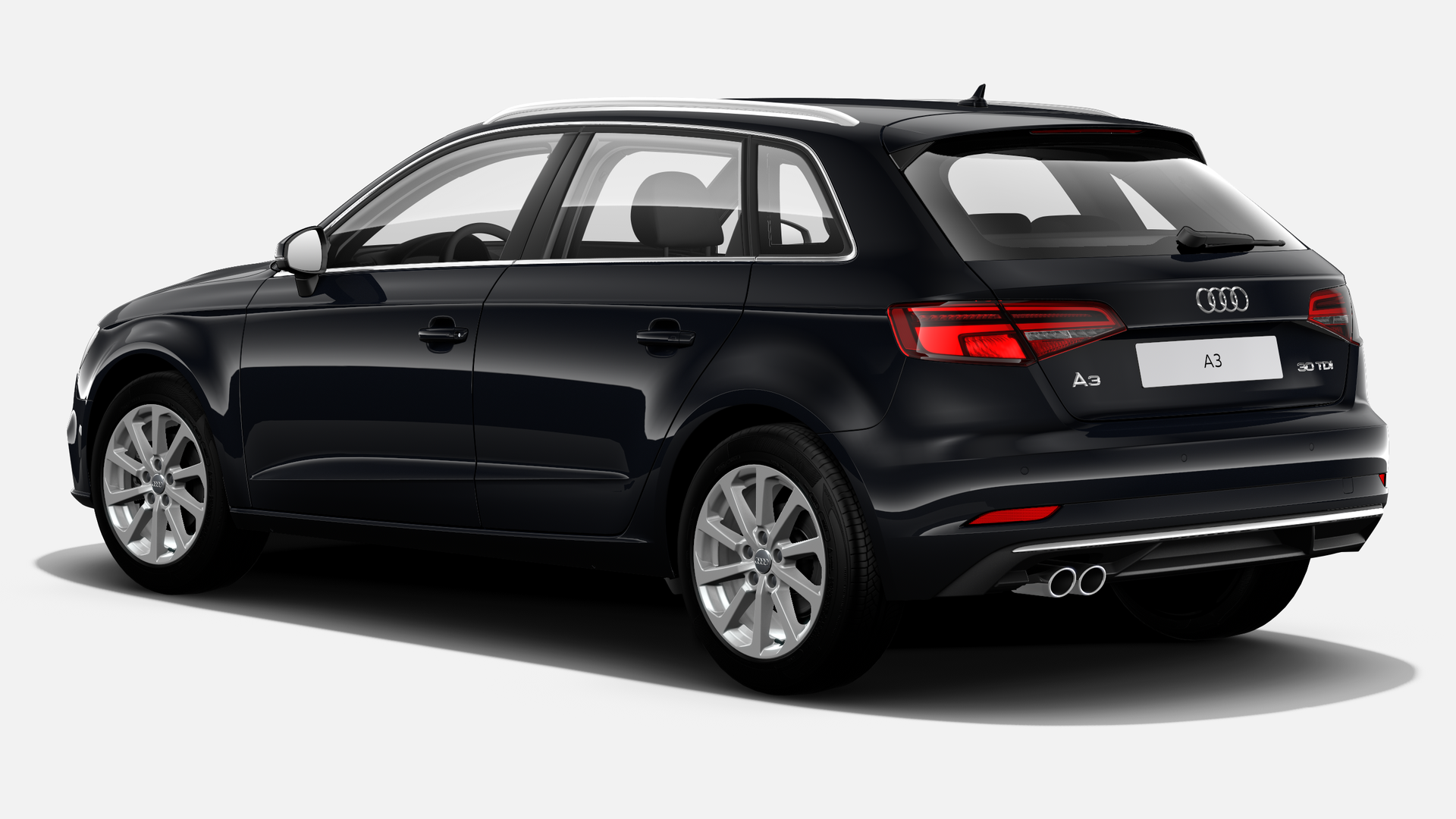 Vista Tres cuartos trasera izquierda de Audi A3 Sportback 30 TDI Design S-tronic  85 kW (116 CV)
