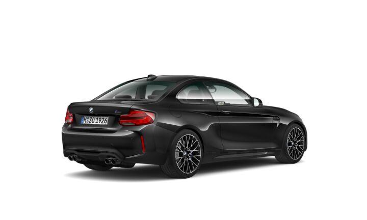 Vista Tres cuartos trasera izquierda del BMW M M2 Competition